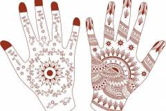 Two hands decorated with mehndi (henna painting). (Includes .jpg)