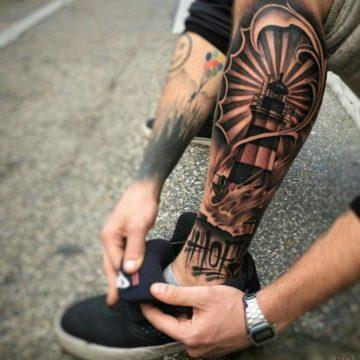 Эскизы тату на ногу для мужчин
